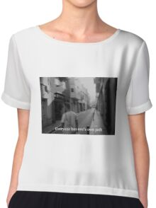 Lomography white and black photo with text  about your path Chiffon Top