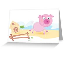 Vector - Pig on farm. Funny animal with farmhouse in background. Vector cartoon Illustration. Greeting Card