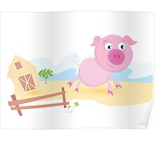 Vector - Pig on farm. Funny animal with farmhouse in background. Vector cartoon Illustration. Poster