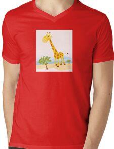 Giraffe. Vector Illustration of funny animal. Mens V-Neck T-Shirt