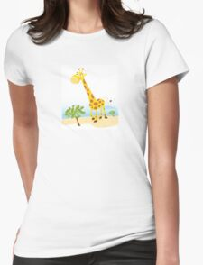 Giraffe. Vector Illustration of funny animal. Womens Fitted T-Shirt