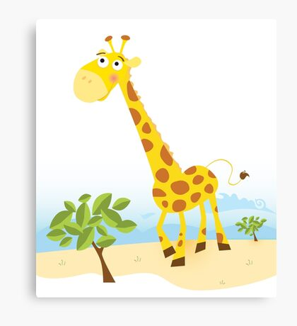 Giraffe. Vector Illustration of funny animal. Canvas Print