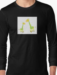 Vector Illustration of giraffe mother and son. Beautiful Kids illustration. Long Sleeve T-Shirt