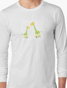 Vector Illustration of giraffe mother and son. Beautiful Kids illustration. Long Sleeve T-Shirt