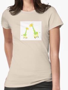 Vector Illustration of giraffe mother and son. Beautiful Kids illustration. Womens Fitted T-Shirt