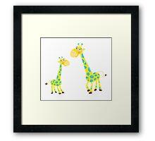 Vector Illustration of giraffe mother and son. Beautiful Kids illustration. Framed Print