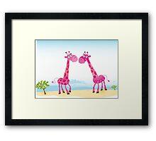 Giraffes in Love. Vector Illustration Framed Print