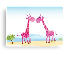 Giraffes in Love. Vector Illustration Metal Print