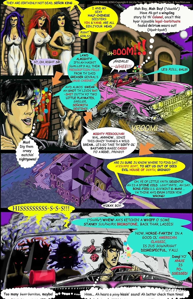 """""""Code Name: King #2"""" Comic Book Page Art - 'No Horse Fartin' in The Caddy' by TexWatt"""