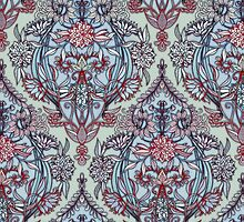 Botanical Moroccan Doodle Pattern in Navy Blue, Red & Grey by micklyn
