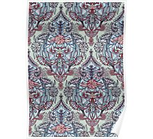 Botanical Moroccan Doodle Pattern in Navy Blue, Red & Grey Poster
