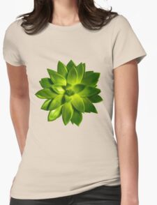 MINI GREEN SUCCULENT MANDALA Womens Fitted T-Shirt