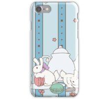 Peach Tea Bunnies - Blue iPhone Case/Skin