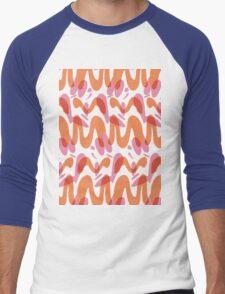 Orange waves pattern  Men's Baseball ¾ T-Shirt