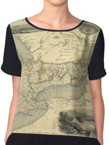 Map Of The Great Lakes 1851 Chiffon Top