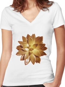 MINI GOLD SUCCULENT MANDALA Women's Fitted V-Neck T-Shirt