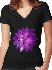 MINI PURPLE PINK SUCCULENT MANDALA Women's Fitted V-Neck T-Shirt
