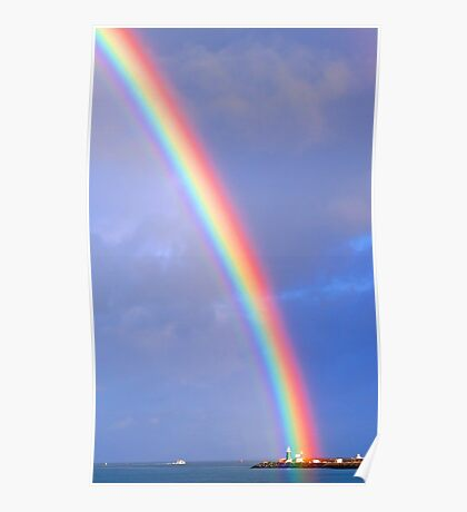 Rainbow Over The Lighthouse - Fremantle Western Australia Poster