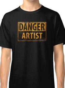 """DANGER, ARTIST"" Rusty Metal Sign - Distressed - Black Yellow Classic T-Shirt"