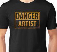 """DANGER, ARTIST"" Rusty Metal Sign - Distressed - Black Yellow Unisex T-Shirt"