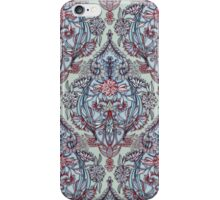 Botanical Moroccan Doodle Pattern in Navy Blue, Red & Grey iPhone Case/Skin