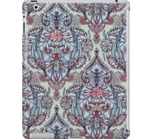 Botanical Moroccan Doodle Pattern in Navy Blue, Red & Grey iPad Case/Skin