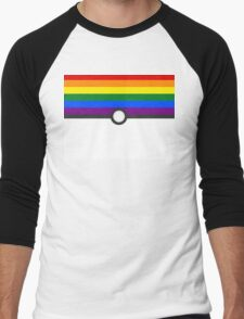 LGBT+ Gay Pride PokeBall Men's Baseball ¾ T-Shirt