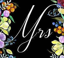'Mrs' Bride Sign or Card by BbArtworx