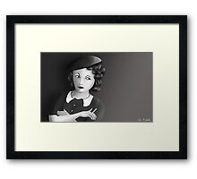 Film Noir Female Character Smoking Cigarette Looking Aside  Framed Print