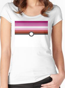 LGBT+ Lesbian Pride PokeBall Women's Fitted Scoop T-Shirt