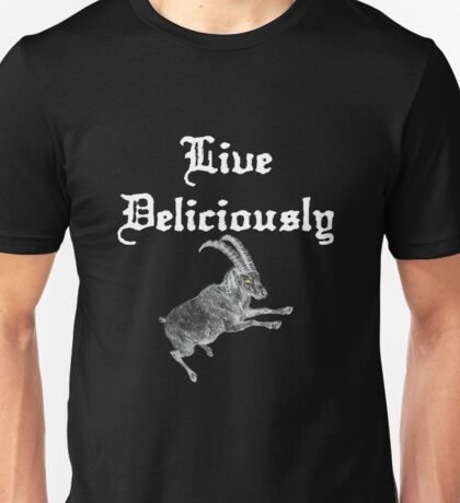 LIVE DELICIOULSLY - Black Phillip Style Unisex T-Shirt