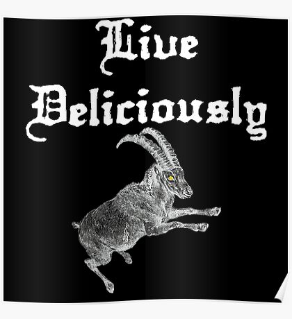 LIVE DELICIOULSLY - Black Phillip Style Poster