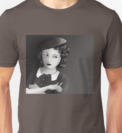 Film Noir Female Character Smoking Cigarette Looking Aside  Unisex T-Shirt