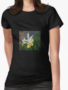 Yellow and White Iris Womens Fitted T-Shirt