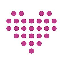 Dotted Heart - White & Pink Photographic Print