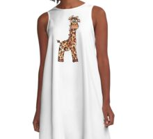 Watercolor Giraffe A-Line Dress