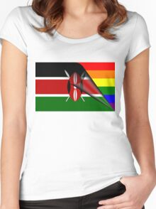Kenya Flag Gay Pride Rainbow Flag Women's Fitted Scoop T-Shirt