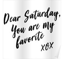 Dear Saturday, you are my favorite. XOX Poster