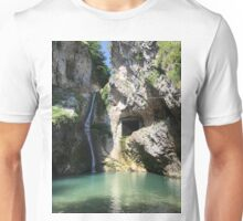Mountain river and little waterfall Unisex T-Shirt