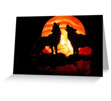 Wolves n Red Moon (14314) Greeting Card