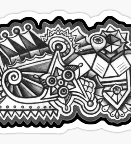 Abstract Dimensions (Black and White) Design 009 Sticker