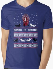 Santa is Coming, Funny Ugly Christmas Sweater, Xmas Gifts Mens V-Neck T-Shirt