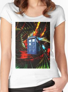tardis in the mix of art Women's Fitted Scoop T-Shirt