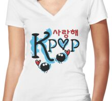 sarang hae KPOP typo Women's Fitted V-Neck T-Shirt