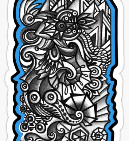 Abstract Dimensions (Black and White) Design 012 Sticker
