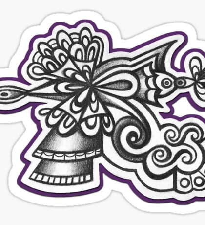 Abstract Dimensions (Black and White) Design 013 Sticker