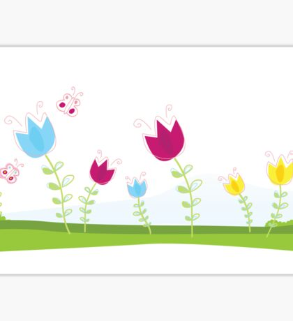 Tulips. Spring flowers. Vector Illustration. Sticker