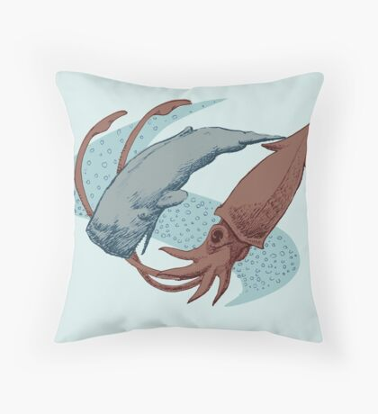 Sperm Whale And Giant Squid Throw Pillow