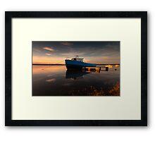 Loughor estuary boats Wales Framed Print