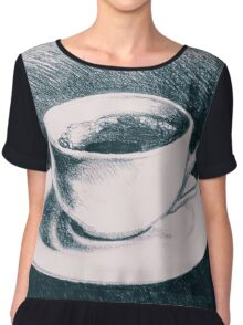 Colorful drawing of coffee cup and saucer Chiffon Top
